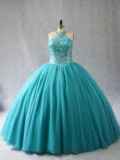 Modest Aqua Blue Halter Top Neckline Beading Sweet 16 Quinceanera Dress Sleeveless Lace Up