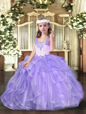Sleeveless Lace Up Floor Length Beading and Ruffles Party Dress for Toddlers