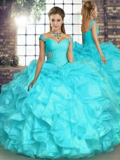 Luxury Aqua Blue Ball Gowns Organza Off The Shoulder Sleeveless Beading and Ruffles Floor Length Lace Up 15 Quinceanera Dress