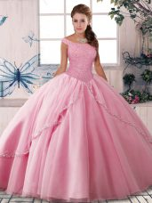 Romantic Rose Pink Sweet 16 Quinceanera Dress Military Ball and Sweet 16 and Quinceanera with Beading Off The Shoulder Sleeveless Brush Train Lace Up