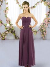 Dynamic Dark Purple Empire Ruching Bridesmaid Dresses Lace Up Chiffon Sleeveless Floor Length