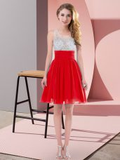 Adorable Scoop Sleeveless Wedding Guest Dresses Mini Length Beading Red Chiffon