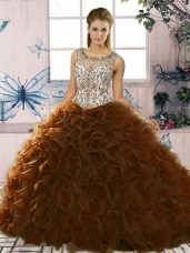 Cheap Brown Organza Lace Up 15 Quinceanera Dress Sleeveless Floor Length Beading and Ruffles