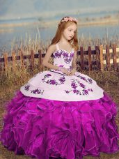 Classical Straps Sleeveless Little Girls Pageant Dress Wholesale Floor Length Embroidery and Ruffles Fuchsia Organza