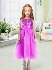 Most Popular Tea Length Lilac Toddler Flower Girl Dress Organza Sleeveless Sequins and Hand Made Flower