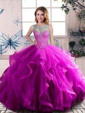 Latest Purple Scoop Neckline Beading and Ruffles Vestidos de Quinceanera Sleeveless Lace Up
