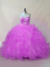Free and Easy Floor Length Ball Gowns Sleeveless Lilac Vestidos de Quinceanera Lace Up