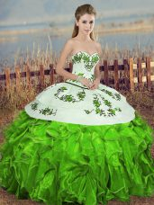 Cute Green Quinceanera Gown Military Ball and Sweet 16 and Quinceanera with Embroidery and Ruffles and Bowknot Sweetheart Sleeveless Lace Up