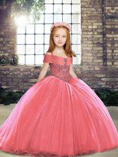 Watermelon Red Child Pageant Dress Tulle Brush Train Sleeveless Beading
