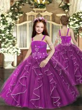 Stylish Purple Lace Up Straps Ruffles Child Pageant Dress Tulle Sleeveless