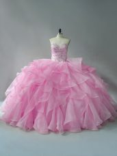 Baby Pink Ball Gowns Sweetheart Sleeveless Organza Lace Up Beading and Ruffles Sweet 16 Dresses