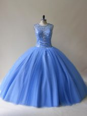 Baby Blue Sleeveless Floor Length Beading Lace Up Vestidos de Quinceanera