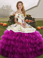 Most Popular Sleeveless Floor Length Embroidery and Ruffled Layers Lace Up Quinceanera Dresses with Fuchsia