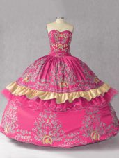 Sweetheart Sleeveless 15 Quinceanera Dress Embroidery Hot Pink Satin and Organza