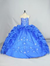 Noble Blue Sweetheart Neckline Embroidery and Pick Ups Quinceanera Gowns Sleeveless Lace Up