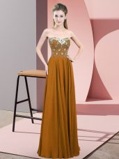 Latest Floor Length Brown Custom Made Sweetheart Sleeveless Zipper