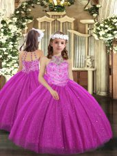 Floor Length Ball Gowns Sleeveless Fuchsia Little Girls Pageant Gowns Lace Up