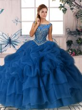 Delicate Royal Blue Sleeveless Brush Train Beading and Pick Ups Quinceanera Dresses