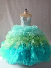 Simple Ball Gowns Ball Gown Prom Dress Multi-color Sweetheart Organza Sleeveless Floor Length Lace Up