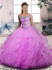 Glamorous Off The Shoulder Sleeveless 15th Birthday Dress Floor Length Beading and Ruffles Lilac Tulle