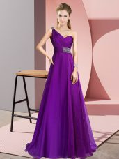 Sleeveless Brush Train Beading Criss Cross Prom Party Dress