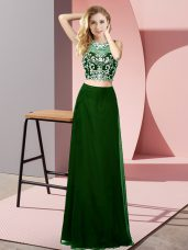 Hot Sale Chiffon Sleeveless Floor Length Prom Gown and Beading