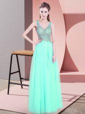 Beautiful Apple Green Empire Beading Prom Gown Zipper Tulle Sleeveless Floor Length
