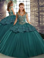 Decent Sleeveless Tulle Floor Length Lace Up Vestidos de Quinceanera in Green with Beading and Appliques