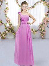 Lilac Empire One Shoulder Sleeveless Chiffon Floor Length Lace Up Hand Made Flower Bridesmaid Dresses