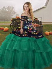 Tulle Off The Shoulder Sleeveless Brush Train Lace Up Embroidery and Ruffled Layers Ball Gown Prom Dress in Green