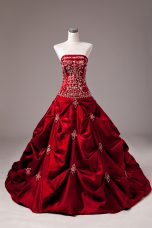 Decent Taffeta Sleeveless 15 Quinceanera Dress Brush Train and Embroidery and Pick Ups