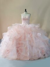 Pink Ball Gowns Beading and Ruffles and Hand Made Flower 15th Birthday Dress Lace Up Tulle Sleeveless