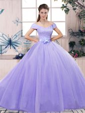 Decent Floor Length Lavender Quince Ball Gowns Off The Shoulder Short Sleeves Lace Up