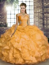 Vintage Sleeveless Floor Length Beading and Ruffles Lace Up Quinceanera Gowns with Gold