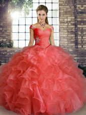 Gorgeous Watermelon Red Lace Up Off The Shoulder Beading and Ruffles Quinceanera Gowns Organza Sleeveless