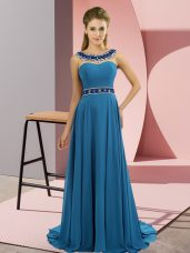 Blue Sleeveless Chiffon Brush Train Zipper Prom Evening Gown for Prom and Party