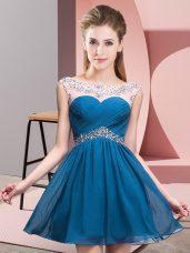 Beading Teens Party Dress Blue Backless Sleeveless Mini Length