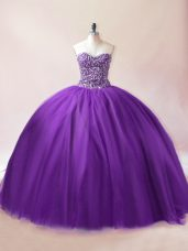 Designer Floor Length Purple Quinceanera Gown Tulle Sleeveless Beading