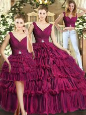 Sleeveless Organza Floor Length Backless Quinceanera Dress in Burgundy with Ruffled Layers