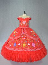 Fancy Off The Shoulder Sleeveless Lace Up Sweet 16 Dress Red Satin