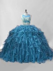 Organza Scoop Sleeveless Brush Train Zipper Beading and Ruffles Quinceanera Dresses in Blue