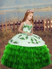 Floor Length High School Pageant Dress Straps Sleeveless Lace Up