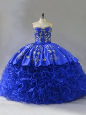 Sumptuous Sweetheart Sleeveless Quinceanera Gown Floor Length Embroidery and Ruffles Royal Blue Fabric With Rolling Flowers