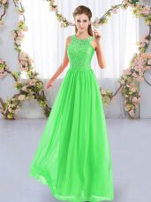 Empire Chiffon Scoop Sleeveless Lace Floor Length Zipper Bridesmaid Dresses