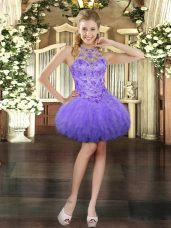 Lavender Halter Top Neckline Beading and Ruffles Prom Gown Sleeveless Lace Up