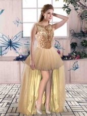 Spectacular A-line Dress for Prom Champagne Scoop Tulle Sleeveless High Low Lace Up