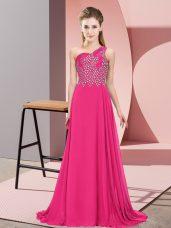 Hot Pink Empire One Shoulder Sleeveless Chiffon Floor Length Side Zipper Beading Evening Dress