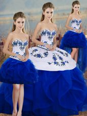 Sleeveless Embroidery and Ruffles and Bowknot Lace Up Quinceanera Dress