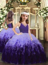 Multi-color Ball Gowns V-neck Sleeveless Tulle Floor Length Zipper Ruffles Little Girl Pageant Dress