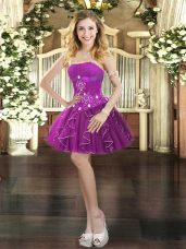 Cute Purple Sleeveless Tulle Lace Up Prom Party Dress for Prom and Party